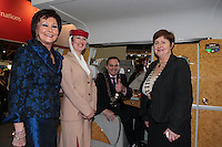 NO FEE PICTURES.25/1/13 Maureen Ledwith, Director Holiday World, Lord Mayor of Dublin is Naoise Ó Muirí and Clare Dunne, President ITAA with Aurelie Timmasino at the Holiday World Show at the RDS, Dublin. Picture:Arthur Carron/Collins