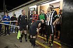 Tow Law Town 2 Heaton Stannington 2, 25.02.2014. Ironworks Road, Tow Law. The referee checking the players are out of the dressing rooms at the home of Tow Law Town (in stripes), the Ironworks Road ground, before the club hosted Heaton Stannington in a Northern League division two fixture. It was the visitors first visit to Tow Law, having been promoted from the Northern Alliance last season. The match ended in a 2-2 draw, with the home team equalising in the last minute after having their goalkeeper sent off. Photo by Colin McPherson.