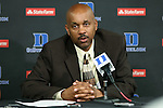 30 October 2012: Shaw head coach Jacques Curtis. The Duke University Blue Devils played the Shaw University Lady Bears at Cameron Indoor Stadium in Durham, North Carolina in women's college basketball exhibition game. Duke won the game 138-32.