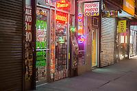 Stores on church Street in Lower Manhattan in New York on Thursday, February 28, 2013.  (© Richard B. Levine)