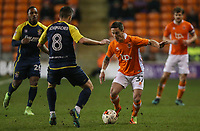 Blackpool's Ian Black takes on Stevenage's Steven Schumacher<br /> <br /> Photographer Alex Dodd/CameraSport<br /> <br /> The EFL Sky Bet League Two - Blackpool v Stevenage - Tuesday 14th March 2017 - Bloomfield Road - Blackpool<br /> <br /> World Copyright &copy; 2017 CameraSport. All rights reserved. 43 Linden Ave. Countesthorpe. Leicester. England. LE8 5PG - Tel: +44 (0) 116 277 4147 - admin@camerasport.com - www.camerasport.com