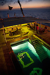The swimming pool and outdoor eating area at the stern of the National Geographic Endeavour ship, sailing in the Galapagos, Galapagos National Park, Galapagos, Ecuador