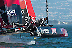 Emirates Team New Zealand leads from start to finish in the first official practice race for the San Francisco America's Cup World Series regatta. 2/10/2012