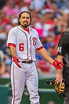 15 June 2016: Washington Nationals third baseman Anthony Rendon is in disagreement with a call by umpire Bob Davidson during a game against the Chicago Cubs at Nationals Park in Washington, DC. The Nationals defeated the Cubs 5-4 in 12 innings to take the rubber match of their 3-game series. Mandatory Credit: Ed Wolfstein Photo *** RAW (NEF) Image File Available ***