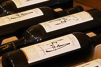 Carignan. Domaine Mas Gabinele. Faugeres. Languedoc. The wine shop and tasting room. France. Europe. Bottle.