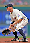 13 September 2008: Cleveland Indians' first baseman Michael Aubrey in action against the Kansas City Royals at Progressive Field in Cleveland, Ohio. The Indians fell to the Royals 8-3 in the first game of their rain delayed double-header...Mandatory Photo Credit: Ed Wolfstein Photo