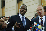Kenneth P. Thompson (L) and Douglas Wigdor, lawyers for Nafissatou Diallo, the Manhattan maid who accused Dominique Strauss-Kahn of sexual assault, speak to the media after the civil case with Nafissatou Diallo in New York, United States. 28/03/2012.  Photo by Kena Betancur / VIEWpress.