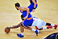 Wizards John Wall goes after the loose ball. New York defeated Washington 115-104 during a NBA preseason game at the Verizon Center in Washington, D.C. on Friday, October 9, 2015.  Alan P. Santos/DC Sports Box