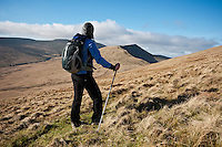 Female hiker enjoys scenic mountain view, Brecon Beacons national park, Wales