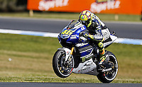 Yamaha MotoGP rider Valentino Rossi of Italy rides during qualifying session at the Australian Motorcycle GP in Phillip Island, Oct 19, 2013. Photo by Daniel Munoz/VIEWpress IMAGE RESTRICTED TO EDITORIAL USE ONLY- STRICTLY NO COMMERCIAL USE.