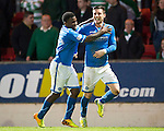 St Johnstone v Celtic...07.05.14    SPFL<br /> Michael O'Halloran celebrates his goal with Nigel Hasselbaink<br /> Picture by Graeme Hart.<br /> Copyright Perthshire Picture Agency<br /> Tel: 01738 623350  Mobile: 07990 594431