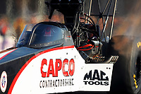 Apr 21, 2017; Baytown, TX, USA; NHRA top fuel driver Steve Torrence during qualifying for the Springnationals at Royal Purple Raceway. Mandatory Credit: Mark J. Rebilas-USA TODAY Sports