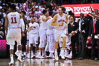 Terrapins Jake Layman exults after converting a three pointer. Maryland defeated Georgetown 75-71 during a game at Xfinity Center in College Park, MD on Wednesday, November 17, 2015.  Alan P. Santos/DC Sports Box
