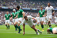 Jonny May of England celebrates scoring the opening try of the match. QBE International match between England and Ireland on September 5, 2015 at Twickenham Stadium in London, England. Photo by: Patrick Khachfe / Onside Images
