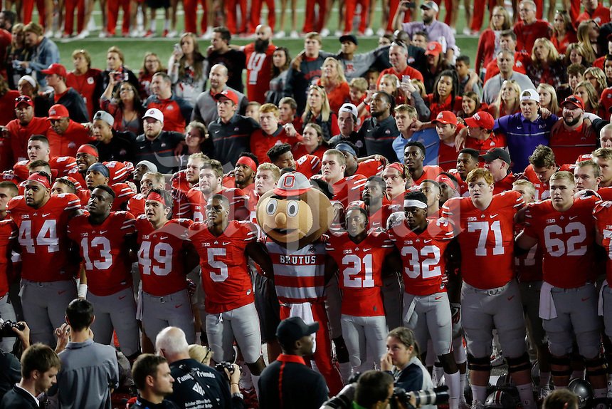 "The OSU football team sings ""Carmen Ohio"" following their game against Northwestern University at Ohio Stadium in Columbus, Ohio on October 29, 2016. (Columbus Dispatch photo by Brooke LaValley)"