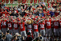 """The OSU football team sings """"Carmen Ohio"""" following their game against Northwestern University at Ohio Stadium in Columbus, Ohio on October 29, 2016. (Columbus Dispatch photo by Brooke LaValley)"""