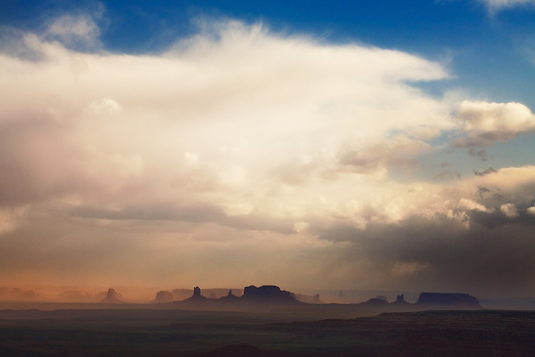 A dust storm engulfs Monument Valley, Arizona.