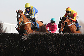 Mud Monkey ridden by Nick Scholfield (L) leads race winner Only Witness ridden by Brendan Powell during the Cogent Ltd John Bigg Oxo Handicap Chase - Horse Racing at Huntingdon Racecourse, Cambridgeshire - 23/02/12- MANDATORY CREDIT: Gavin Ellis/TGSPHOTO - Self billing applies where appropriate - 0845 094 6026 - contact@tgsphoto.co.uk - NO UNPAID USE.