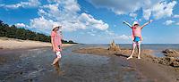 Set of kids on Kauksi beach. Lake Peipsi in Estonia.
