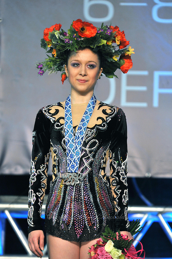 "SILVIYA MITEVA of Bulgaria celebrates winning medals in 3 of 4 Event Finals at 2011 World Cup Kiev, ""Deriugina Cup"" in Kiev, Ukraine on May 8, 2011."