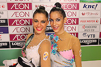 """September 10, 2009; Mie, Japan;  (L-R) Carolina Rodriguez and Marina Fernandez of Spain pose for portrait in the """"mixed zone"""" at 2009 World Championships Mie. Photo by Tom Theobald."""