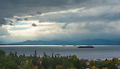 Lake Champlain view from the top of the Old Mill Tower on the UVM campus. Burlington, Vermont and Lake Champlain