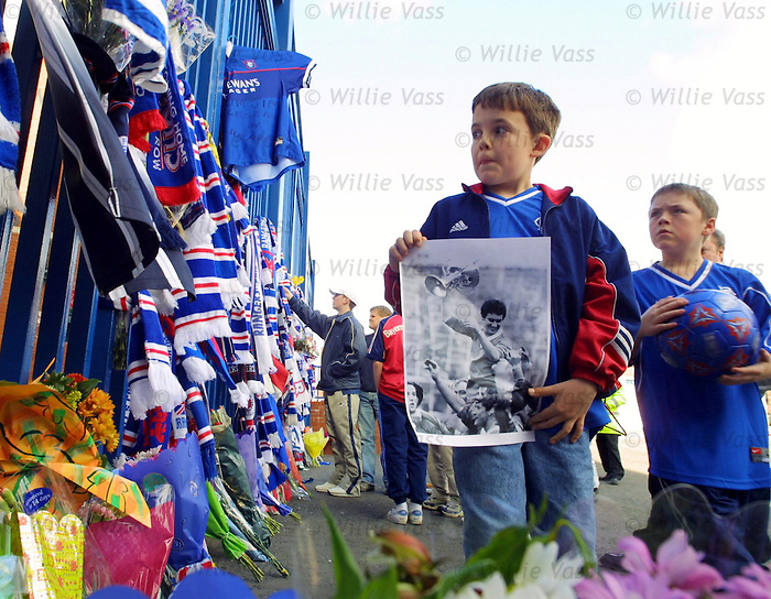 Tributes at Ibrox on the passing of Jim Baxter, April 2001