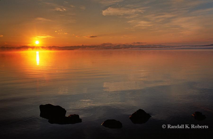 Sunset over Yellowstone Lake, Wyoming.