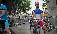Last years winner Nacer Bouhanni (FRA) at the start<br /> <br /> Halle - Ingooigem 2013<br /> 197km