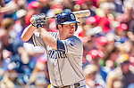 27 April 2014: San Diego Padres second baseman Jedd Gyorko in action against the Washington Nationals at Nationals Park in Washington, DC. The Padres defeated the Nationals 4-2 to to split their 4-game series. Mandatory Credit: Ed Wolfstein Photo *** RAW (NEF) Image File Available ***