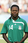 12 August 2008: Faith Ikidi (NGA).  The women's Olympic team of Brazil defeated the women's Olympic soccer team of Nigeria 3-1 at Beijing Workers' Stadium in Beijing, China in a Group F round-robin match in the Women's Olympic Football competition.