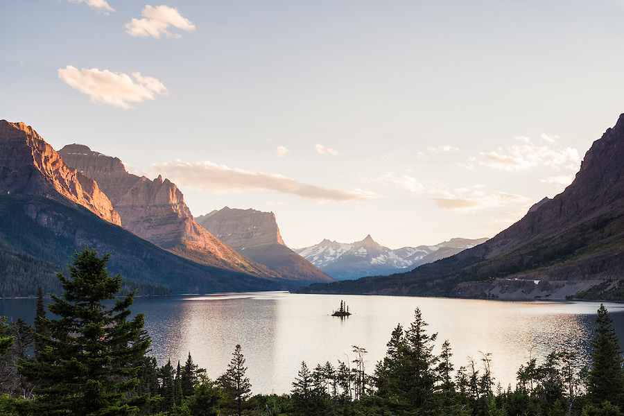 Wild Goose Island seen from one of the most popular overlooks in the entirety of Glacier National Park, Montana.