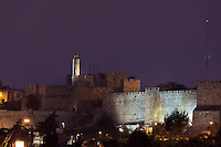 Night view of the Citadel or Tower of David and walls of Jerusalem's Old City.
