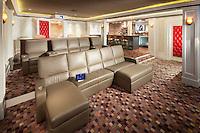 Sleek Home Theater with Rear Bar area