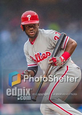 28 April 2016: Philadelphia Phillies outfielder Odubel Herrera in action against the Washington Nationals at Nationals Park in Washington, DC. The Phillies shut out the Nationals 3-0 to sweep their mid-week, 3-game series. Mandatory Credit: Ed Wolfstein Photo *** RAW (NEF) Image File Available ***