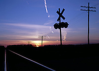 Railway Level Crossing at Sunrise