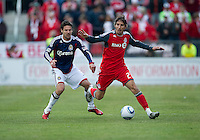 02 April 2011: Chivas USA defender Heath Pearce #3 and Toronto FC forward Alan Gordon #21 in action during an MLS game between Chivas USA and the Toronto FC at BMO Field in Toronto, Ontario Canada..The game ended in a 1-1 draw...