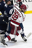 Matt Foley (Yale - 4), Devin Tringale (Harvard - 22) - The Harvard University Crimson defeated the Yale University Bulldogs 6-4 in the opening game of their ECAC quarterfinal series on Friday, March 10, 2017, at Bright-Landry Hockey Center in Boston, Massachusetts.