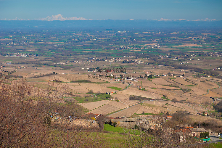 The Wine Route in early spring in Beaujolais, France. La Terrasse, a viewpoint overlooking the valley over Northern Beaujolais, located on the road to Avenas.  Mont Blanc is visible in the distance. (barely)