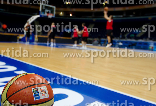 Official Molten's ball during practice session of Slovenian National basketball team at Eurobasket Lithuania 2011, on September 8, 2011, in Siemens Arena, Vilnius, Lithuania. (Photo by Vid Ponikvar / Sportida)