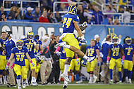 Newark, DE - October 29, 2016: Delaware Fightin Blue Hens defensive back Ryan Torzsa (24) celebrates during game between Towson and Delware at  Delaware Stadium in Newark, DE.  (Photo by Elliott Brown/Media Images International)