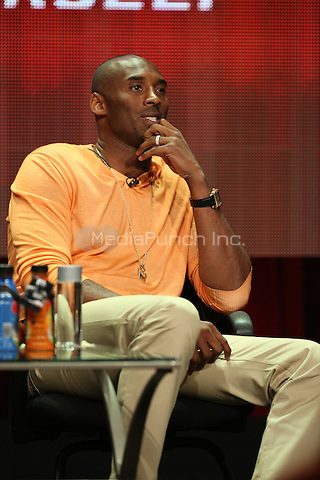 """BEVERLY HILLS, CA - JULY 18:    Kobe Bryant speaks onstage during the """"Kobe's Muse"""" portion of the Showtime Summer TCA Press Tour on July 18, 2014 in Los Angeles, Calif.  Credit: PGUnderwood/MediaPunch"""