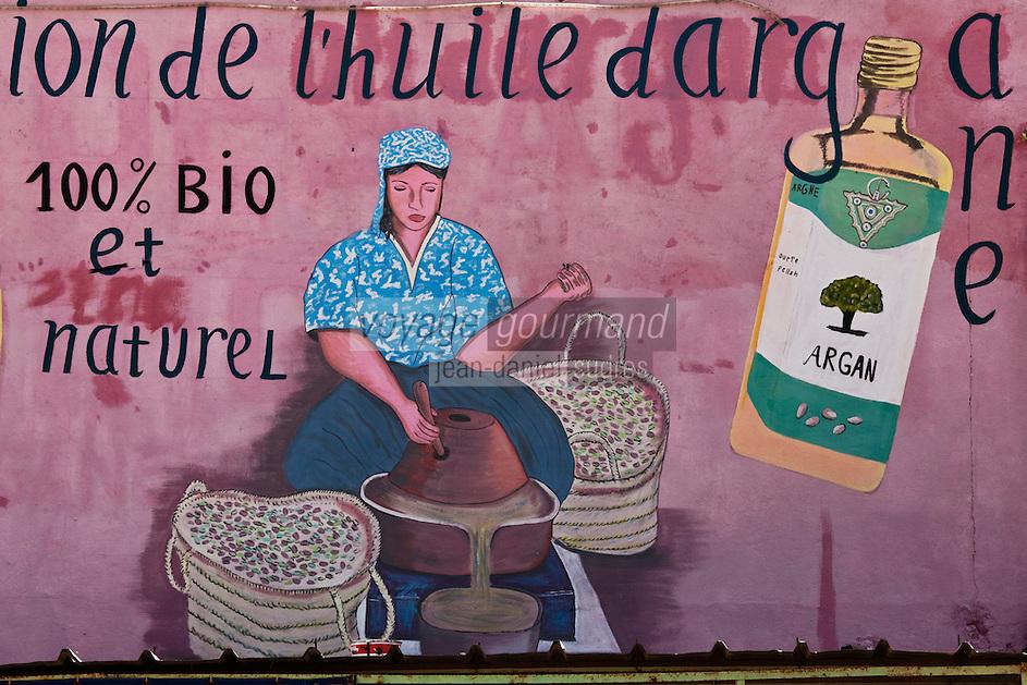 Afrique/Afrique du Nord/Maroc/Env d'Essaouira: Enseigne d'une coopérative agricole préparant de l'huile d'argan artisanale