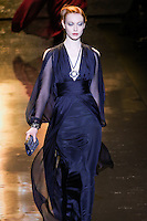 Chantal Stafford-Abbott walks runway in an outfit from the Badgley Mischka Fall 2011 fashion show, during Mercedes-Benz Fashion Week Fall 2011.