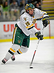 16 February 2008: University of Vermont Catamounts' defenseman Kevan Miller, a Freshman from Los Angeles, CA, in action against the Merrimack College Warriors at Gutterson Fieldhouse in Burlington, Vermont. The Catamounts defeated the Warriors 2-1 for their second win of the 2-game weekend series...Mandatory Photo Credit: Ed Wolfstein Photo