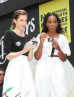NEW YORK, NY - JUNE 22:   Allison Williams and Kelly Rowland eat Breyers ice cream at the Breyers Ice Cream 150th Birthday Blowout celebration in Madison Square Park in New York, New York on June 22, 2016.  Photo Credit: Rainmaker Photo/MediaPunch
