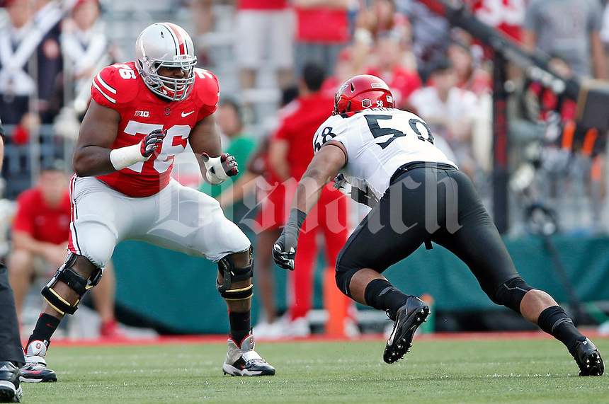Ohio State Buckeyes offensive linesman Darryl Baldwin (76) against San Diego State Aztecs in their college football game at Ohio Stadium in Columbus on September 7, 2013.  (Dispatch photo by Kyle Robertson)