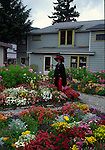 Woman leading garden tour in Skagway