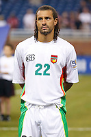 Guadeloupe defender Mickael Tacalfred (22) before the CONCACAF soccer match between Panama and Guadeloupe at Ford Field Detroit, Michigan.