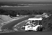 Monochrome treatment of the preceeding image: Jim Hall, Chaparral 2G, at the 1968 Bridgehampton Can-Am; PHOTO BY Pete Lyons 1968 / www.petelyons.com